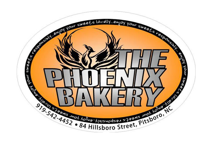 Phoenix Bakery Logo - Orange oval with silver type and black Phoenix