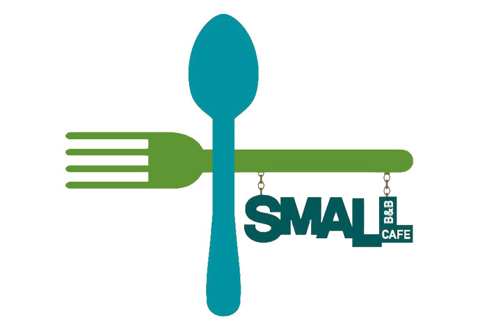 Small B&B and Cafe - Green fork and blue spoon with sign hanging from fork