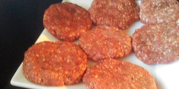 Patted Out Ground Beef For Burgers