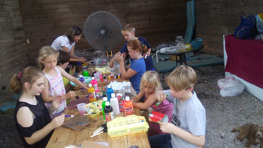 Children making crafts