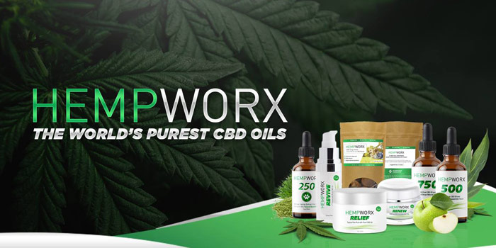 HempWorx CBD Oil - Green And Silver Sans-serif Type Over Marijuana Leave And Products Below Type