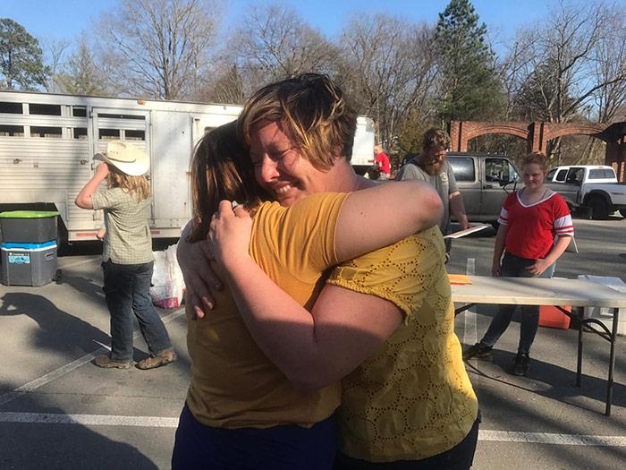 Mackenzie Withington hugging a friend