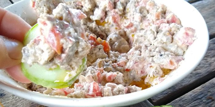 Sausage Dip In Bowl With Cucumber