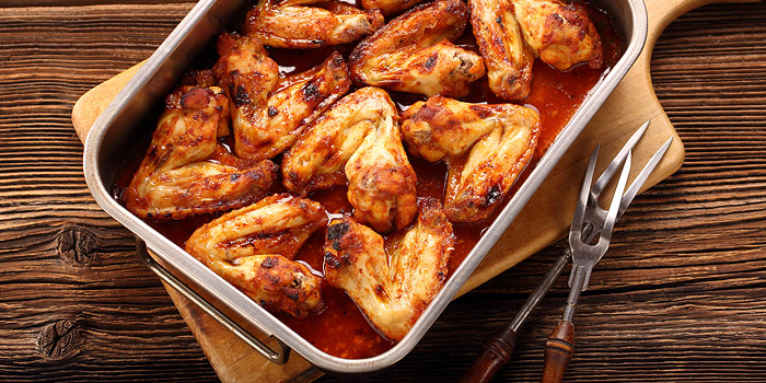 Buffalo Chicken Wings In Cooking Dish