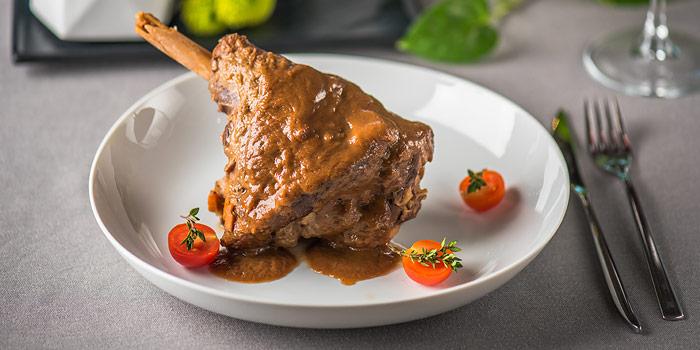 Leg Of Lamb On Dinner Plate