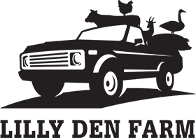 Lilly Den Farm Black Logo - Pickup truck with animals in back and uppercase serif type below