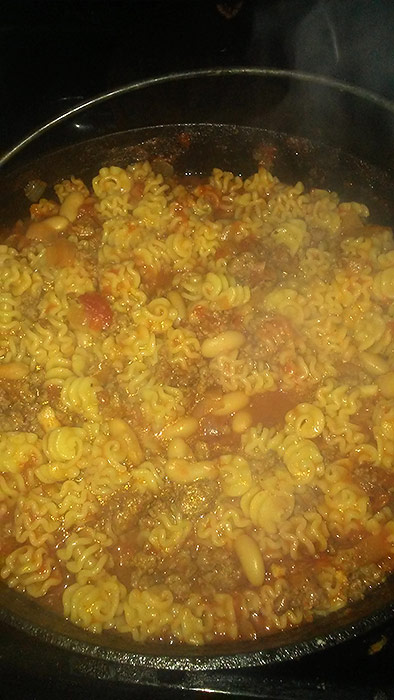 Pasta Fazool Ingredients - Onions, Ground Beef, Parmesan Cheese, Cannellini Beans, Tomatoes, Pasta