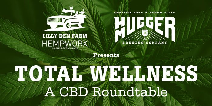 Photo Of Marijuana Plant With White Lilly Den Farm And Hugger Mugger Logos And Serif Type In White Overlaying