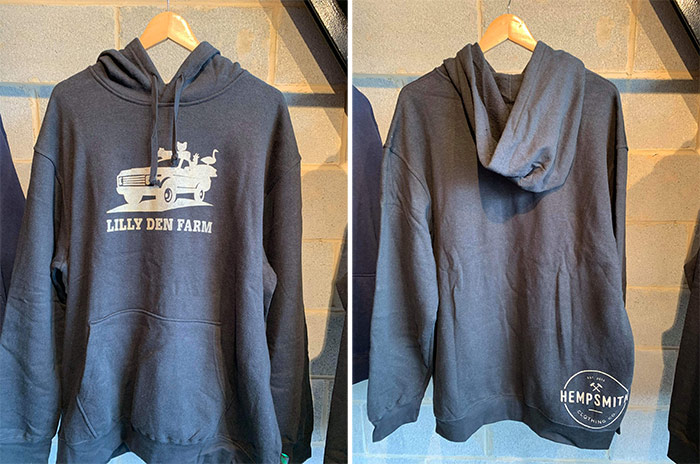 Blue Hempsmith hoodie with Lilly Den Farm logo on front