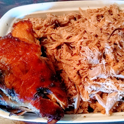 Pulled Pork With Ribs On A Plate