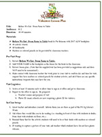 Before We Eat From Farm to Table - lesson plan layout