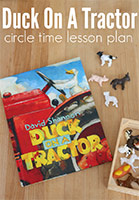 Duck on a Tractor Cover - Photo of book with farm animal toys