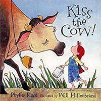 Kiss the Cow cover showing illustration of a little girl kissing a cow