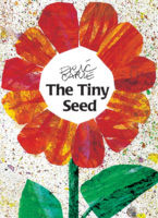 The Tiny Seed cover showing illustration of a red petalled flower with black type in center of flower