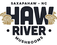 Haw River Mushrooms Logo - Black sans-serif type with mushroom illustrations