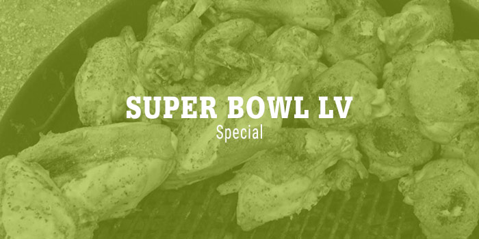 White Serif Uppercase Type Over Sans-serif Subhead With Image Of Chicken Wings On Grill Under Type With Green Overlay