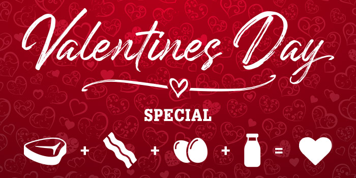 Valentines Day Special - Illustration Of Hearts On Red Background With Overlaying White Text And Icons