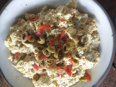 Egg Salad garnished with Green Olives and pimento