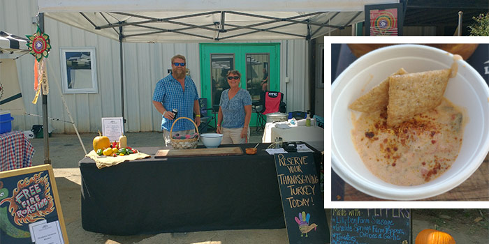 Photo Of Lilly Den Farm At The Pepper Fest With Inset Photo Of Sausage Dip With Fire Roasted Peppers